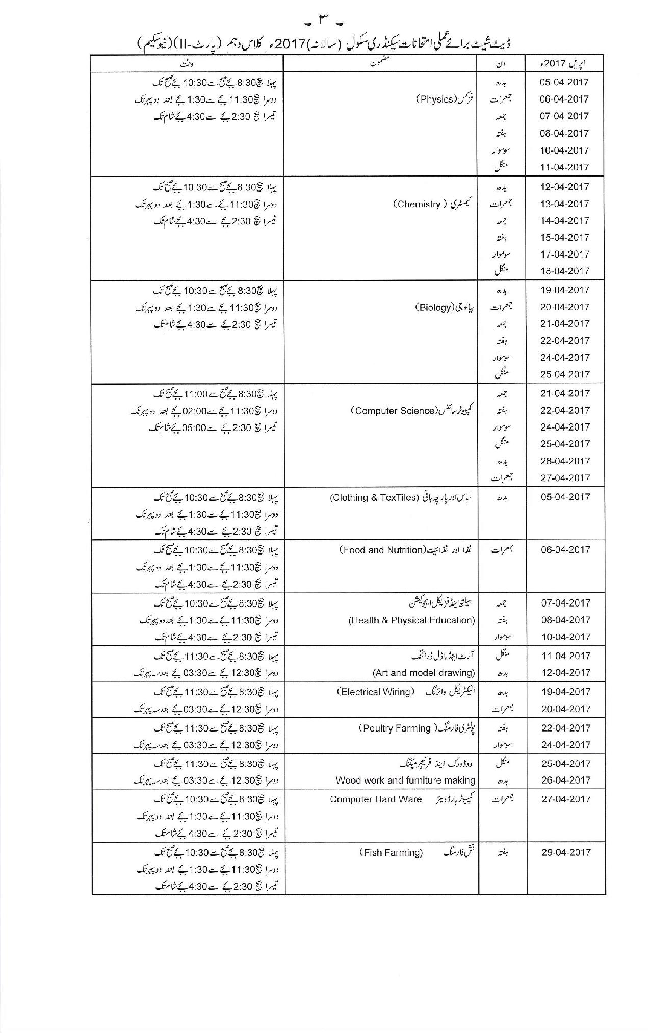 Date Sheet For 9th & 10th Class Of Gujranwala Board 2017 – Wisdom House