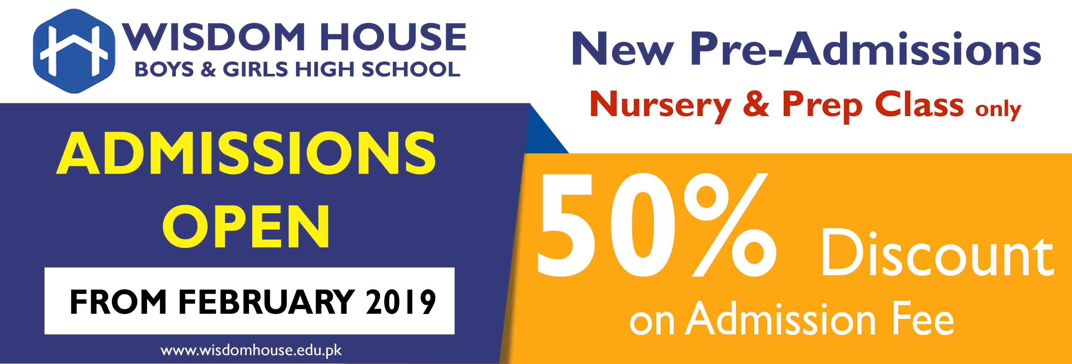 New Pre Admissions Open (50% off on Admission fee)